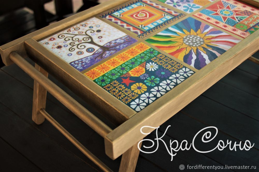 Wooden tray-table with hand-painted ' stained glass Windows', Trays, Krasnodar,  Фото №1