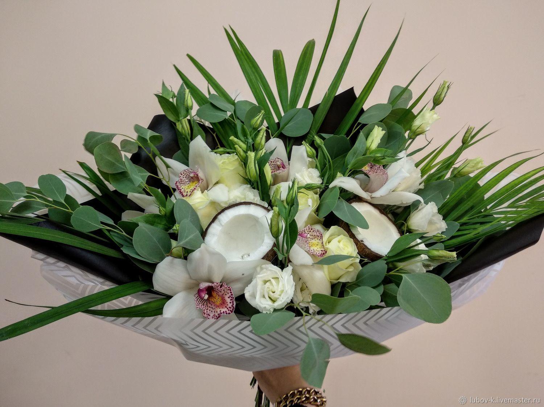 Черно-белые букеты цветов невесты