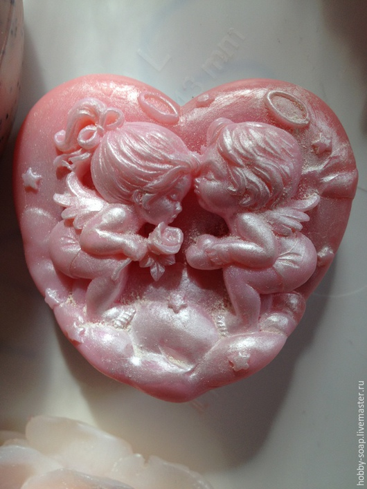 Мыло ручной работы. Ярмарка Мастеров - ручная работа. Купить Влюбленные ангелочки. Мыло ручной работы.. Handmade. Бледно-розовый