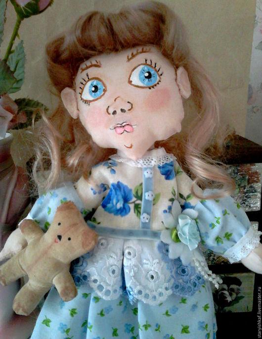 Коллекционные куклы ручной работы. Ярмарка Мастеров - ручная работа. Купить Кукла текстильная Незабудка. Handmade. Голубой, кукла интерьерная