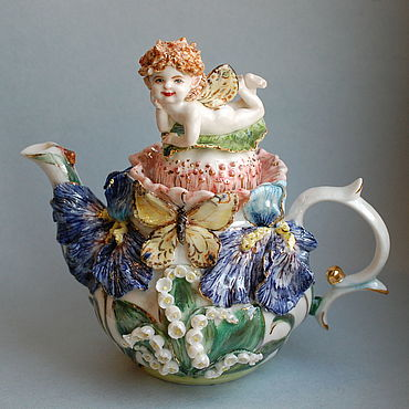 Tableware handmade. Livemaster - original item Little elf. Kettle porcelain with molded decoration. Handmade.
