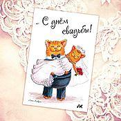"""Открытки ручной работы. Ярмарка Мастеров - ручная работа Авторская открытка """"С днём свадьбы!"""" с милой кошачьей парой.. Handmade."""