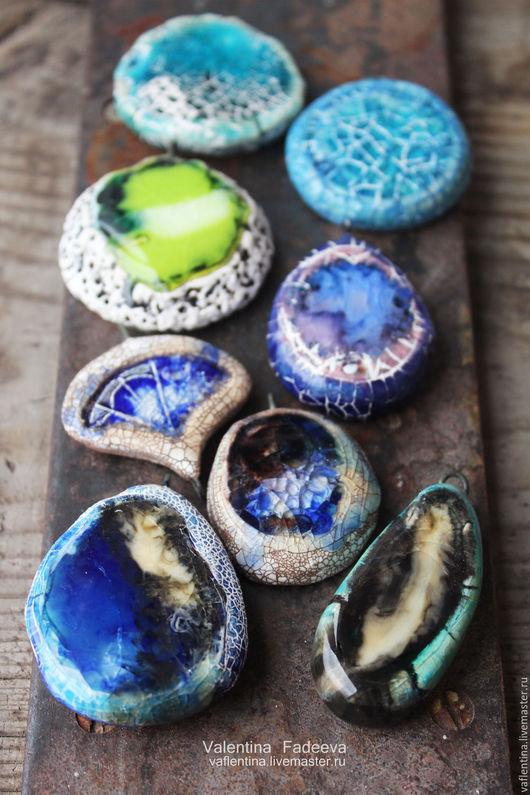 """Кулоны, подвески ручной работы. Ярмарка Мастеров - ручная работа. Купить """"Индиго"""" морские подвески. Керамика, фарфор, стекло. Handmade."""