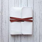 Канцелярские товары handmade. Livemaster - original item diaries: A5 white leather notebook with a strap. Handmade.