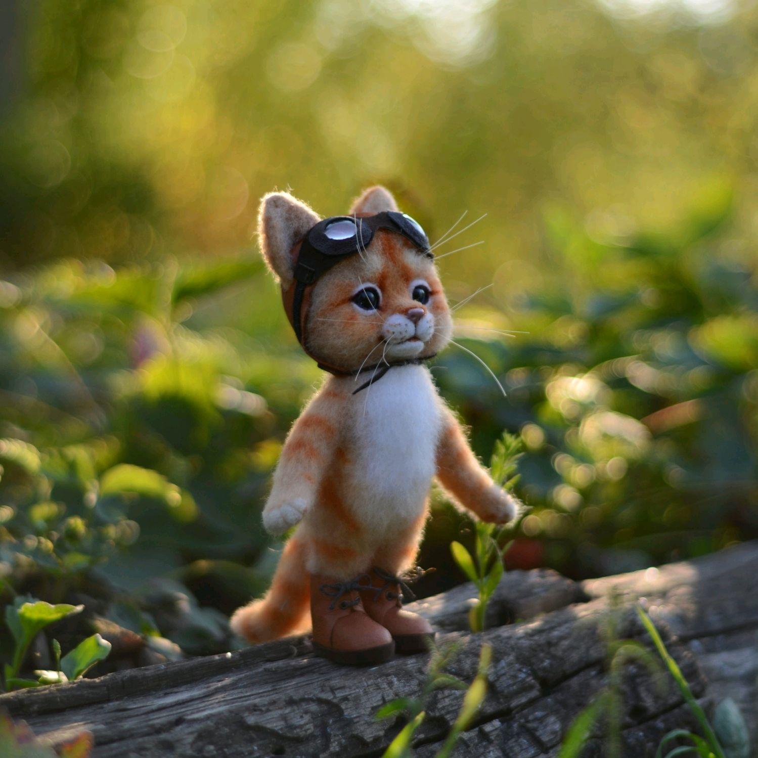 Котик в шлеме, Войлочная игрушка, Грайворон,  Фото №1