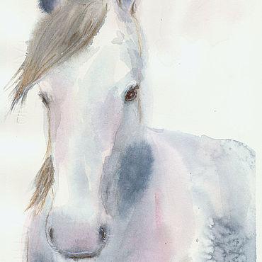 """Картины и панно ручной работы. Ярмарка Мастеров - ручная работа """"Призрачная"""" акварель (лошадь, серый, нежный). Handmade."""