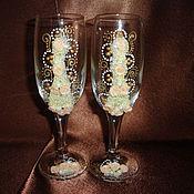 """Свадебный салон ручной работы. Ярмарка Мастеров - ручная работа Свадебные бокалы """"Брызги шампанского"""". Handmade."""