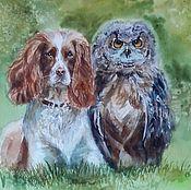 Картины и панно handmade. Livemaster - original item Watercolor painting Friends. Handmade.