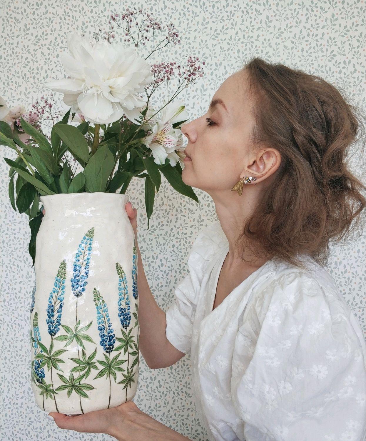 """Керамическая ваза """"Люпины"""", Вазы, Москва,  Фото №1"""