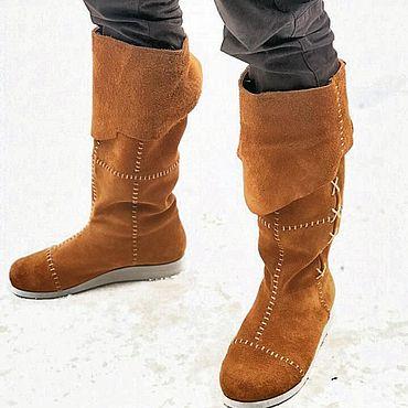 Обувь ручной работы. Ярмарка Мастеров - ручная работа Сапоги коричневые замшевые. Handmade.