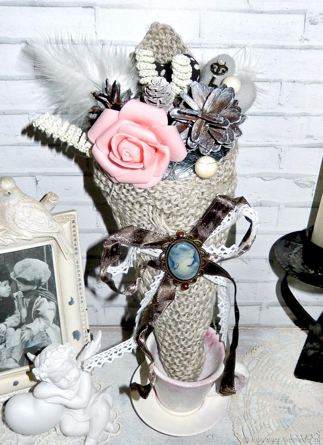 Вязаный букет-кулёк с декором ручной работы к Новому Году, Букеты, Йошкар-Ола,  Фото №1