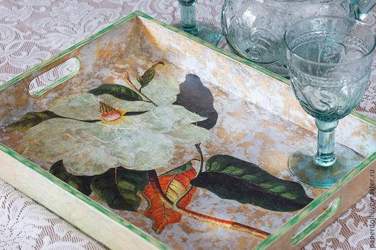 """Кухня ручной работы. Ярмарка Мастеров - ручная работа. Купить Поднос """" Магнолия"""". Handmade. Поднос, состаренный, цветок, серебристый"""