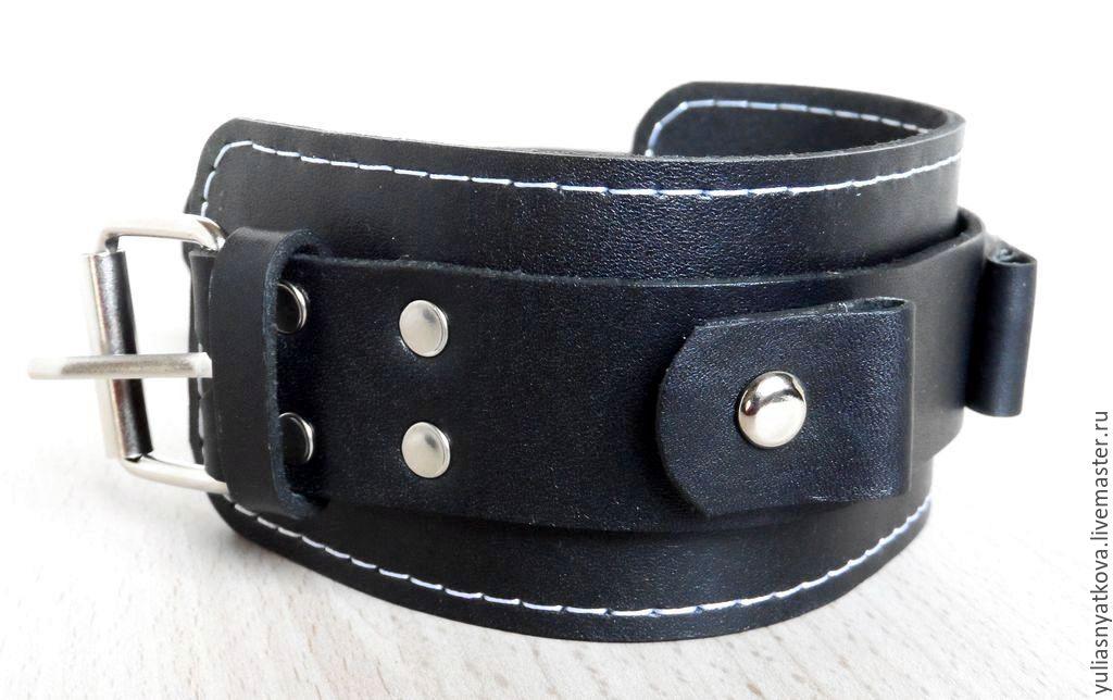 Широкий кожаный браслет женский купить в