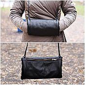 Аксессуары handmade. Livemaster - original item Clutch Bag hand made of leather and fur lambskin Black. Handmade.