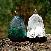 Украшения handmade. Livemaster - original item Pair pendant with the mountains of wood and resin jewelry. Handmade.
