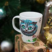 Посуда ручной работы. Ярмарка Мастеров - ручная работа Чеширский кот кружка с декором. Handmade.