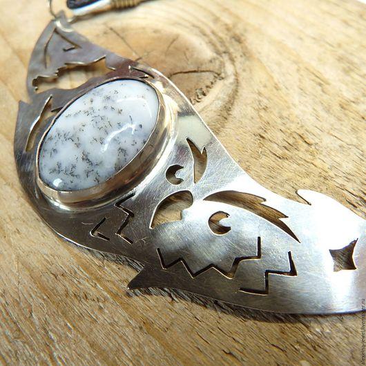 Колье, бусы ручной работы. Ярмарка Мастеров - ручная работа. Купить Колье под серебро из мельхиора с моховым агатом Совы.... Handmade.