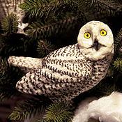 Подарки к праздникам ручной работы. Ярмарка Мастеров - ручная работа Полярная сова ёлочная игрушка из ваты. Handmade.