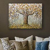 Картины и панно handmade. Livemaster - original item Painting for the interior of Golden autumn, the tree on the canvas. Handmade.