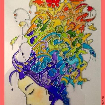 Картины и панно ручной работы. Ярмарка Мастеров - ручная работа картина на стекле - Девушка-радуга.. Handmade.