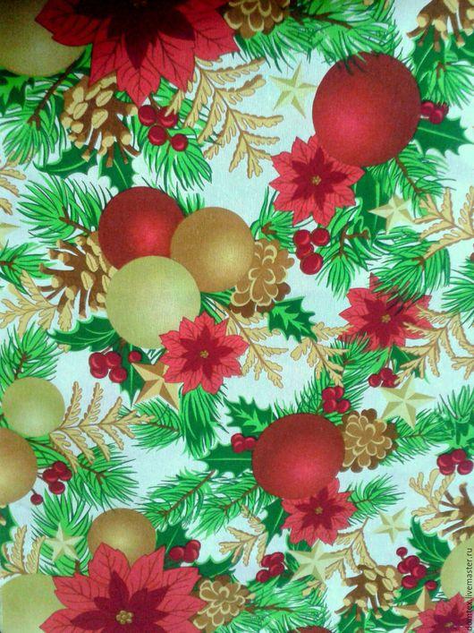 Новогодняя ткань. Новогодний интерьер. Новогодний текстиль. Новый Год. Скатерть. Шторы. Подушки.  Ткань Новогодние Шары на белом.
