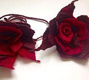 Украшения ручной работы. Ярмарка Мастеров - ручная работа Валяное украшение заколка браслет Роза. Handmade.