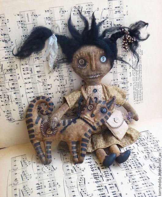 """Ароматизированные куклы ручной работы. Ярмарка Мастеров - ручная работа. Купить Примитивная кукла  """"Девочка и котик"""".. Handmade. Коричневый"""