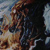 """Картины и панно ручной работы. Ярмарка Мастеров - ручная работа Вышитая картина"""" Четыре коня"""". Handmade."""
