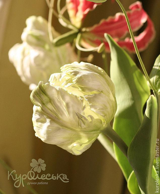 Купить Интерьерная композиция. Глориоза и тюльпаны Полимерная глина - белый, розовый, салатовый, глориоза, тюльпан