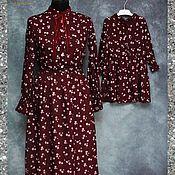 """Одежда ручной работы. Ярмарка Мастеров - ручная работа Комплект платьев для мамы и дочки """"Бордо"""". Handmade."""