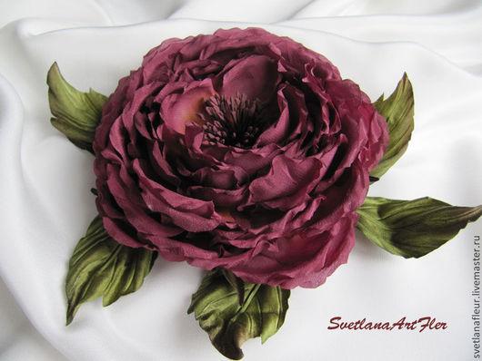 Цветы ручной работы. Ярмарка Мастеров - ручная работа. Купить Роза из шёлка бордовая. Handmade. Бордовый, роза