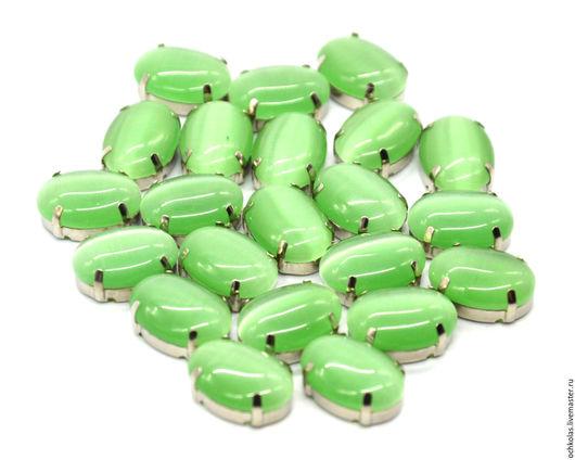 Для украшений ручной работы. Ярмарка Мастеров - ручная работа. Купить Стразы овал 18х13 мм в цапах зеленый. Handmade.