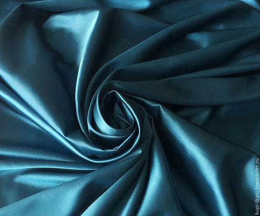 Шитье ручной работы. Ярмарка Мастеров - ручная работа. Купить Атлас лазурно-синий. Handmade. Атлас, атласная ткань
