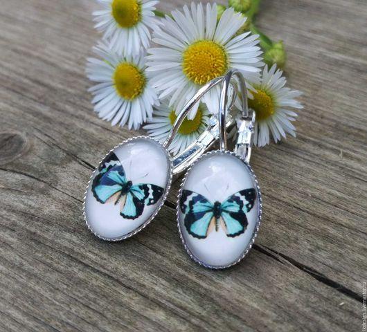 Серьги ручной работы. Ярмарка Мастеров - ручная работа. Купить Серьги посеребренные Бабочка. Handmade. Комбинированный, подарок, бабочки, сад