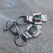 Earrings handmade. Livemaster - original item Cross earrings with green beryl, silver and copper. Handmade.