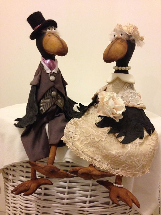 """Игрушки животные, ручной работы. Ярмарка Мастеров - ручная работа. Купить Интерьерные свадебные игрушки """"Вороны"""". Handmade. Комбинированный"""