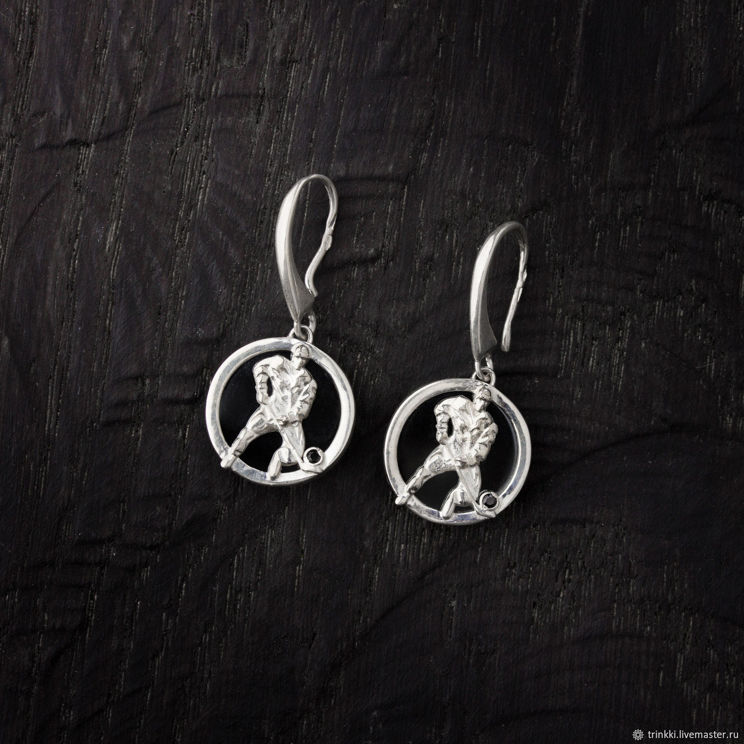 Hockey, earrings of silver with a large stone, Pendants, Tver,  Фото №1