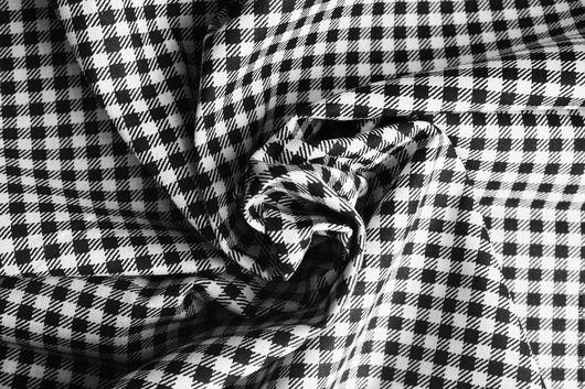 """Шитье ручной работы. Ярмарка Мастеров - ручная работа. Купить Хлопок """"Клетка ВИШИ черная"""". Handmade. Чёрно-белый"""