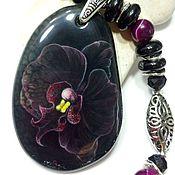 Necklace handmade. Livemaster - original item Black Dahlia Lacquer painting on stone – original gift. Handmade.