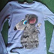 Одежда ручной работы. Ярмарка Мастеров - ручная работа Кофточка-мышь с розой. Handmade.