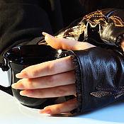 Аксессуары handmade. Livemaster - original item Black leather fingerless gloves