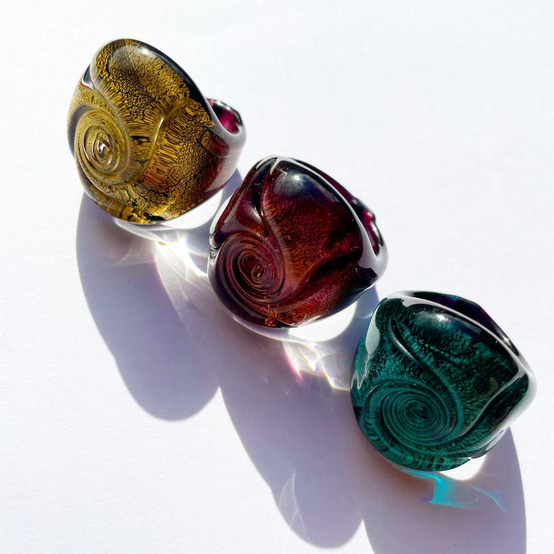 Кольцо из муранского стекла Роза, изумрудное, Кольца, Москва,  Фото №1