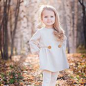 Платья ручной работы. Ярмарка Мастеров - ручная работа Детское осеннее зимнее платье нарядное молочное праздничное, золотой. Handmade.
