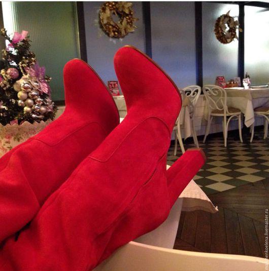 Обувь ручной работы. Ярмарка Мастеров - ручная работа. Купить Ботфорты. Handmade. Коралловый, сапоги ручной работы