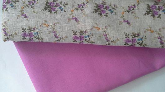 Шитье ручной работы. Ярмарка Мастеров - ручная работа. Купить Ткань лен с сиреневыми и красными цветами. Handmade. Лен