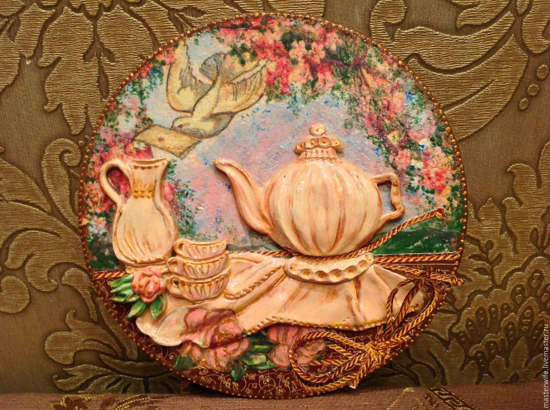 """Кухня ручной работы. Ярмарка Мастеров - ручная работа. Купить Доска - пано на кухню """"Чаепите в саду"""". Handmade. Интерьер кухни"""