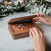 Сувениры и подарки handmade. Livemaster - original item Wooden box with magnetic lid with engraving. Handmade.