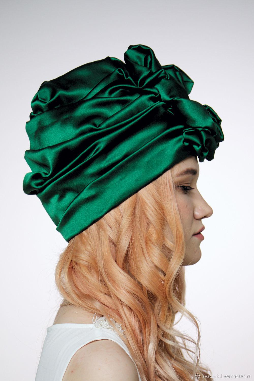 4a4963930b9 Livemaster Hats handmade. Emerald Green Silk turban hat hijab millinery. TURBAN  SVS.