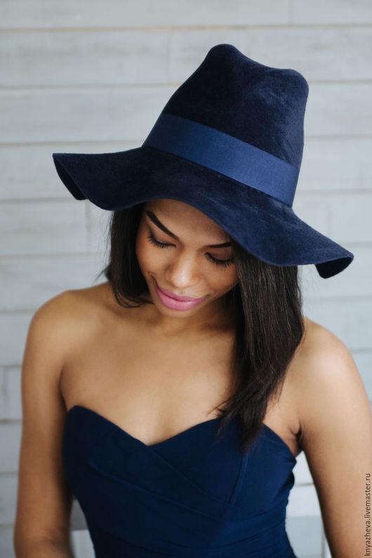 """Шляпы ручной работы. Ярмарка Мастеров - ручная работа. Купить Шляпа  """" Восторг """".. Handmade. Тёмно-синий"""