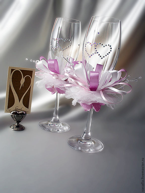 Wedding champagne glasses 'lilac', Wedding glasses, Moscow,  Фото №1
